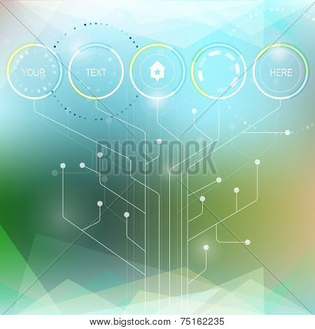Vector Infographic Or Web Design Template. Abstract Technology Hi-tech Circuit Board