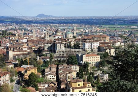 Bergamo, Città Alta, Lombardy, Italy, On A Sunny Spring Afternoon