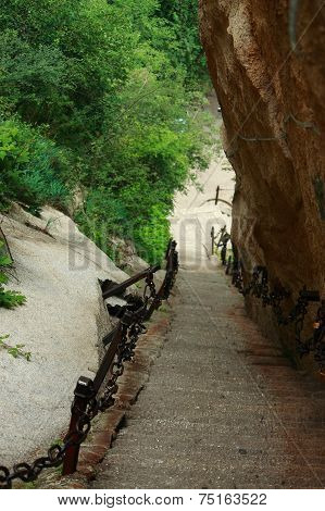 perpendicular staircase in Huangshan park