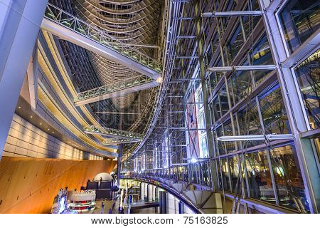 TOKYO - DECEMBER 16, 2012: The public hall of Tokyo International Forum. The multipurpse facility was completed in 1996 on the site of the former Tokyo City Hall.
