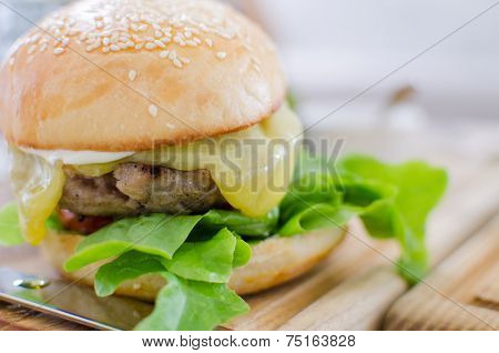 Hamburger With Juicy Beef And Cheese