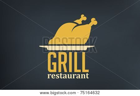 Grill Restaurant Logo design vector template.  Roasted Chicken silhouette on dish logotype.