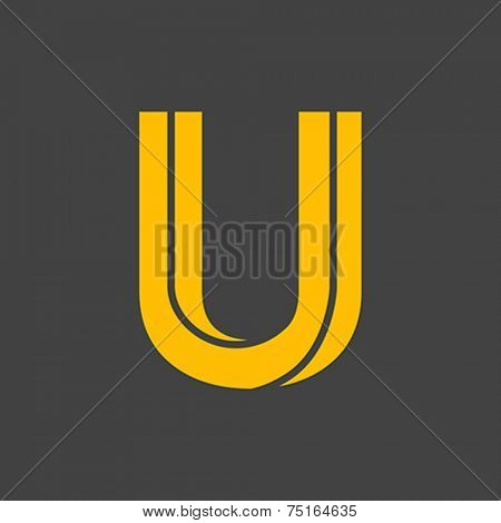 Letter U vector alphabet impossible shape. ABC concept type as logo. Typography design