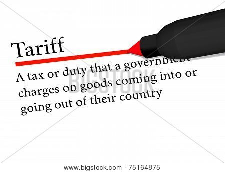 Term Of Tariff Underlined In Red Color By A Pen