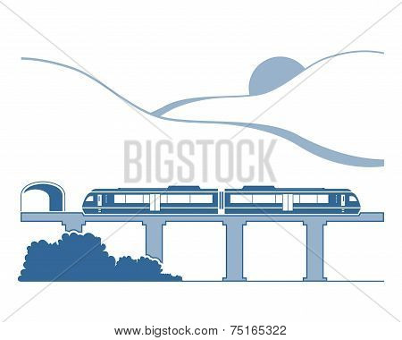 Silhouette Of Monorail In The Mountains