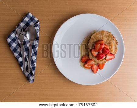 Homemade Pancake With Strawberry