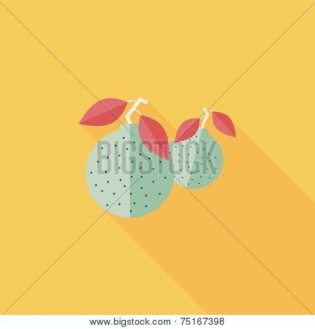 Chinese New Year Mandarin Oranges Flat Icon Wtih Long Shadow,eps10