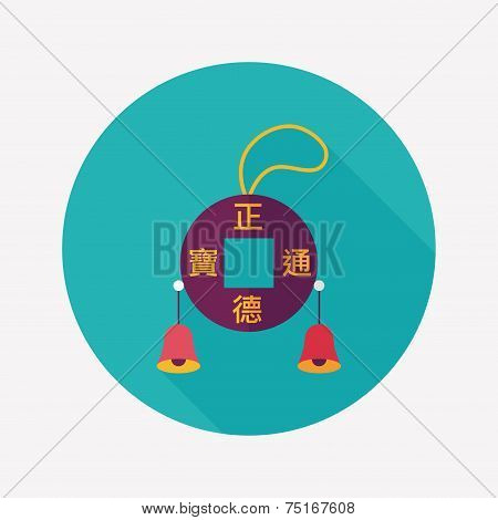 Chinese New Year Flat Icon With Long Shadow,eps10, Kosen Lucky Pendant Means