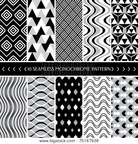 Collection Of 10 Geometric Seamless Pattern Background