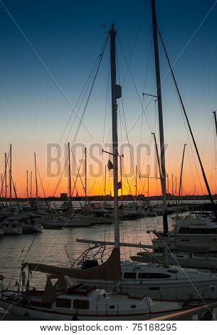 Sunset Over Charleston Harbor Marina