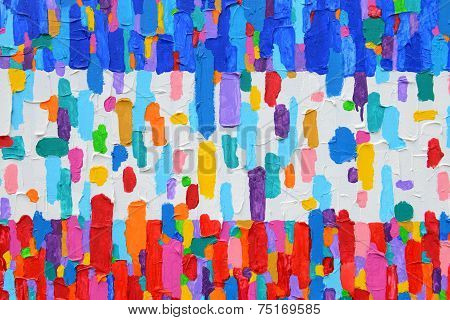 Texture, Background And Colorful Image Of An Original Abstract Painting