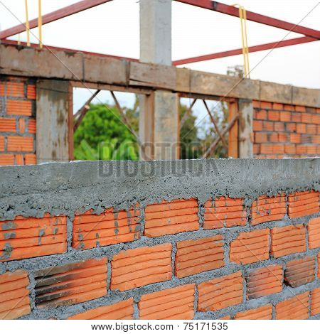 Building And Construction House, Wall Made Red Brick