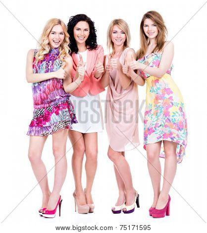 Full portrait of group young beautiful happy women with thumb up sign - isolated on white.
