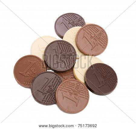 Chocolate euro coins, isolated on white backdrop