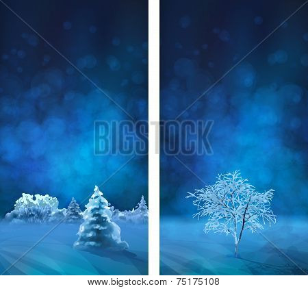 Vector Watercolor Winter Night Banners