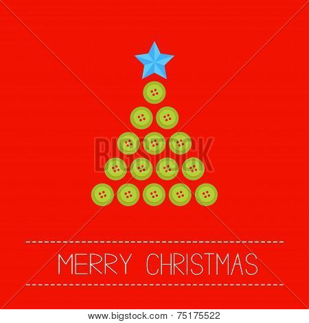 Christmas Triangle Tree From Green Buttons. Merry Christmas Card. Flat Design
