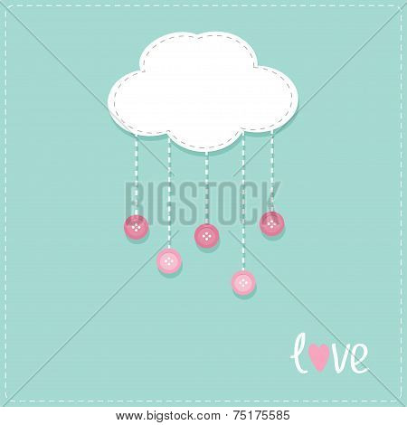 Cloud With Hanging Rain Button Drops. Dash Line Love Card Flat Design