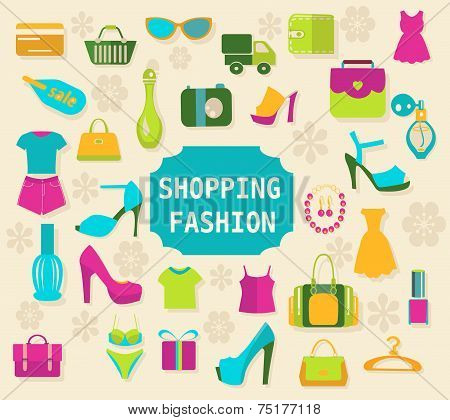 Shopping And Fashion Background Vector - Illustration