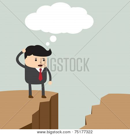 Businessman Standing On The Cliff And Looking For Way To Across To The Opposite Side