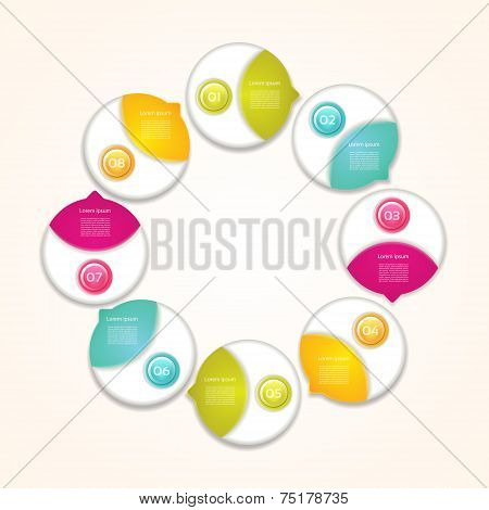 Cyclic diagram with eight steps / Vector progress background . eps 10