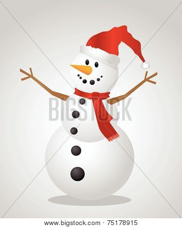 Christmas Snowman with a Santa Hat