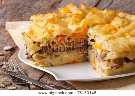 Delicious Appetizers: Pasta Baked With Meat And Pumpkin