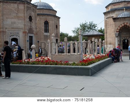 Mevlana museum mosque in Konya. Anatolia, Turkey
