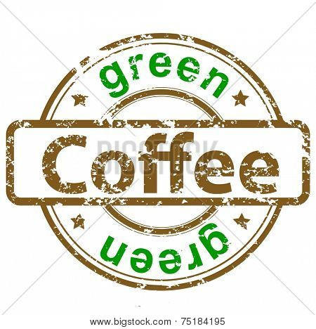 grunge rubber stamp with text green coffee
