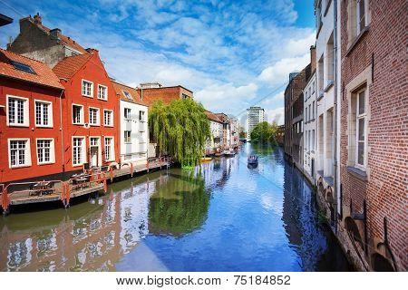 View of beautiful river in Ghent, Belgium
