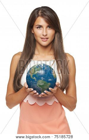 Business woman holding earth globe