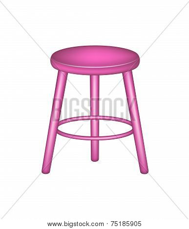 Retro stool in pink design