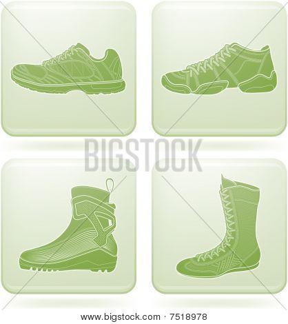 Olivin quadratisch 2d Icons Set: Sportschuhe