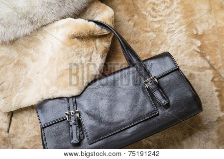 Leather Bag On Furs