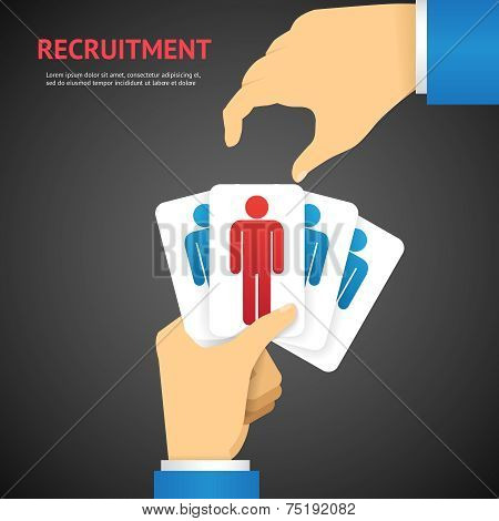 Creative Recruitment Cards Hold by Hand Concept