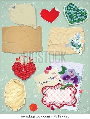 Set Of Vintage Postcards, Vintage Papers And Labels In Heart Shape For Valentines Day Design.