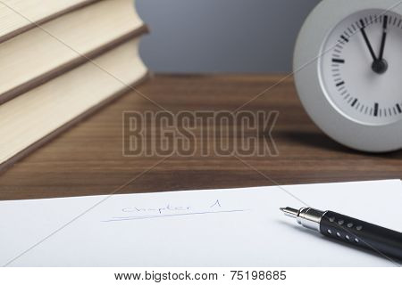 Bullet Pen, Books,  Clock, Empty Paper