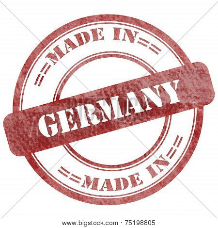 Made In Germany, Red Grunge Seal Stamp