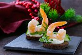 image of shrimp  - appetizer canape with fresh cucumber - JPG