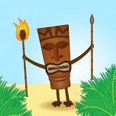 image of tiki  - happy tiki statue with welcoming smile and fire in his hand - JPG
