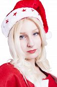 pic of fancy-dress  - Sexy blonde Female Santa Claus with Hat and fancy dress costume - JPG
