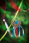 pic of dreamcatcher  - Beautiful handmade dreamcatcher in the forest outdoor - JPG