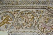 stock photo of panther  - Roman polychrome mosaic of Century VI AC With the representation of a winged Vistoria a chariot crowned the team of horses an erotic arch centaur attacked by a dog a panther child figure krater tree of life  - JPG