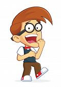 stock photo of dork  - Clipart Picture of a Nerd Geek Cartoon Character with Shocked Expression - JPG