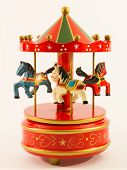 stock photo of merry-go-round  - red merry-go-round horse carillon wooden old carouse