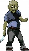 picture of thug  - cartoon goblin man thug with a knife - JPG