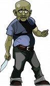 stock photo of thug  - cartoon goblin man thug with a knife - JPG