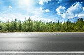 picture of road trip  - asphalt road and forest - JPG