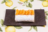picture of satsuma  - Orange flavoured Swiss roll decorated with orange slices