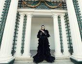 foto of evil queen  - Fashion model in black dress - JPG