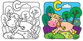 image of calves  - Coloring book of little funny cow or calf running along the path - JPG